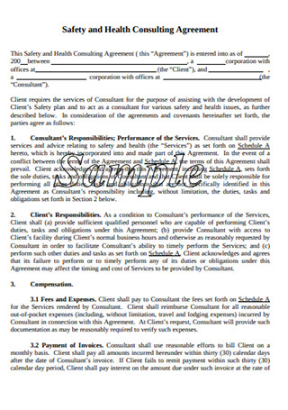 Safety and Health Consulting Agreement