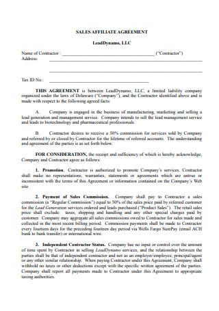 Sales Affiliate Agreement
