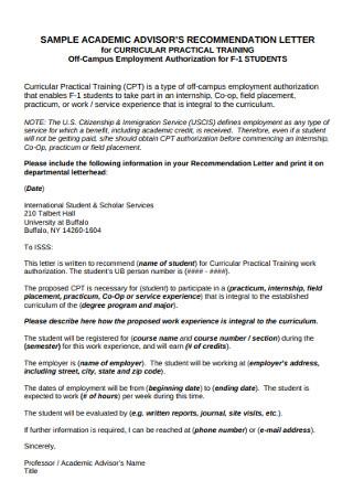 Sample Academic Advisor Recommendation Letter