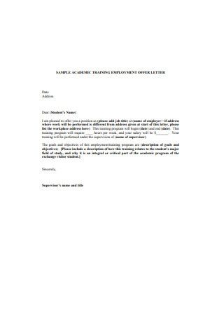 Sample Academic Training Employment Offer Letter