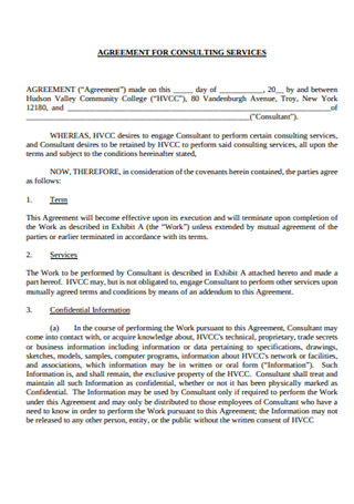 Sample Agreement for Consulting Service