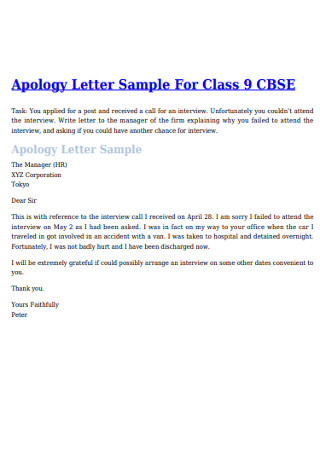 Sample Apology Letter for Class