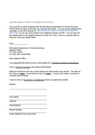 Sample Appeal Letter for Medical Assistance