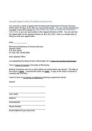 Sample Appeal Letter for Medical Assistance