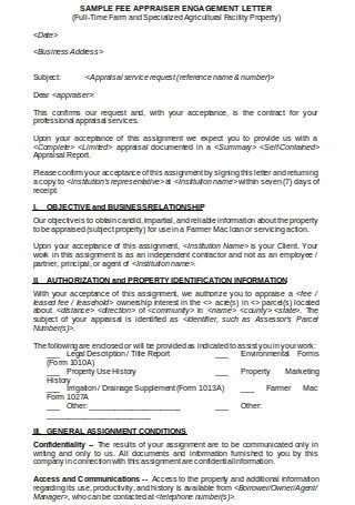 Sample Appraiser Engagement Letter