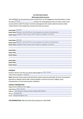 Sample Artist Contract Example