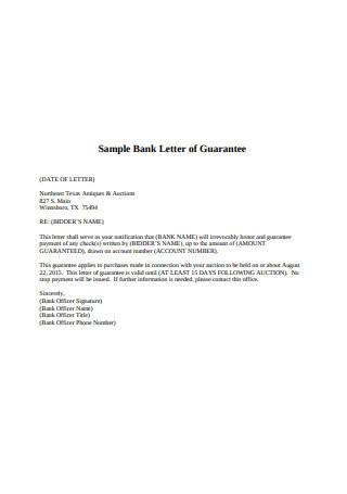 Sample Bank Letter of Guarantee Format