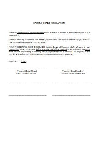 Sample Board Resolution Letter