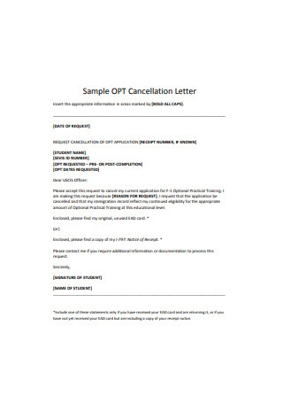 Sample Cancellation Letter