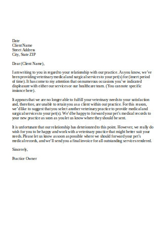 Sample Client Termination Letter