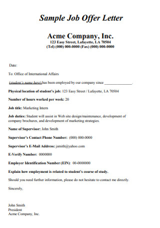 Sample Company Job Offer Letter