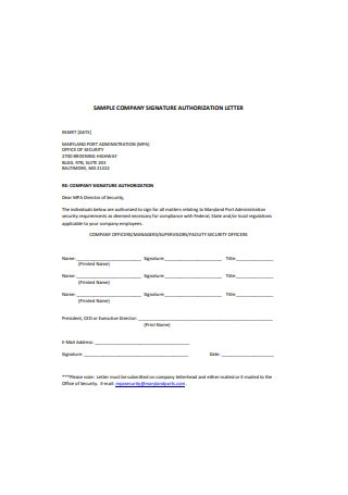 Sample Company Signature Authorization Letter Template