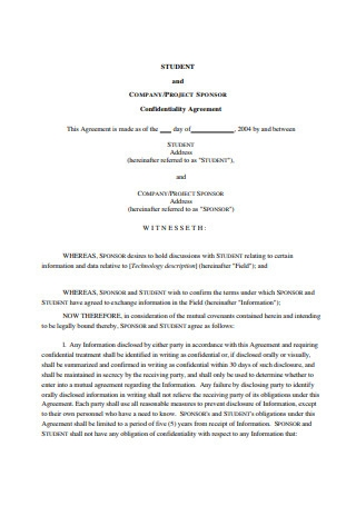 Sample Confidentiality Agreement Example