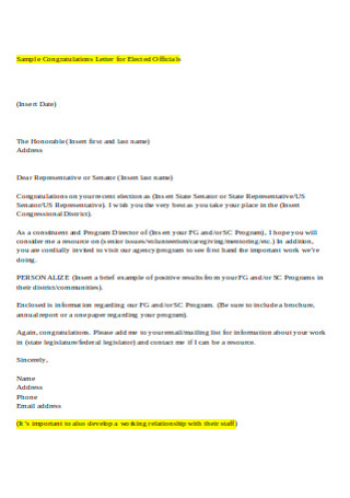 Sample Congratulations Letter for Elected Officials