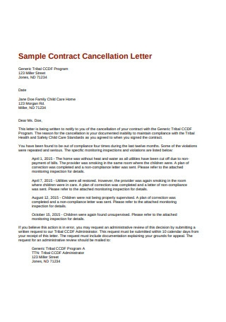Sample Contract Cancellation Letter