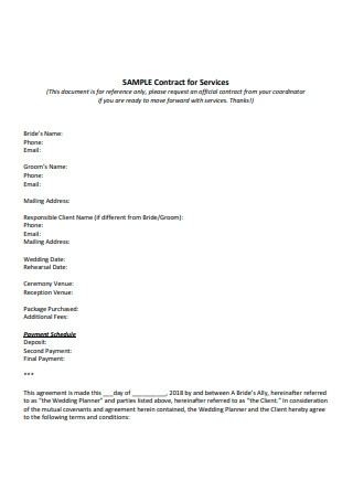 Sample Contract for Wedding Services