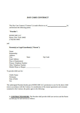 Sample Daycare Contract Format