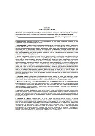 Sample Dealer Agreement Example