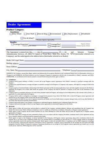 Sample Dealer Agreement Form