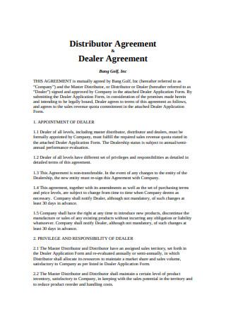Sample Dealer Agreement Format