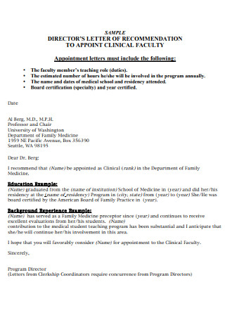 Sample Directors Recommendation Letter