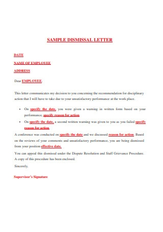 Sample Dismissal Letter