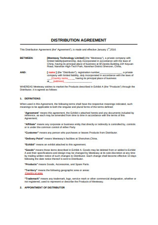 Sample Distribution Agreement Example
