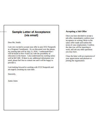 Sample Email Job Letter of Acceptance