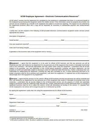 Sample Employee Agreement Example