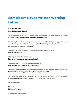 Final Warning Letter To Employee For Misconduct from images.sample.net