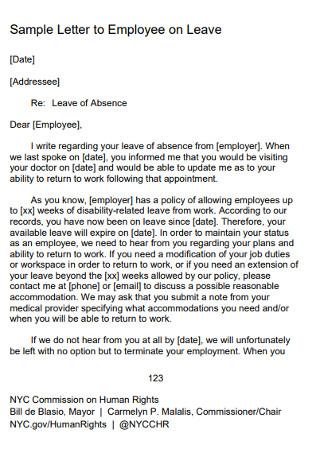 Sample Employee on Work Leave Letter