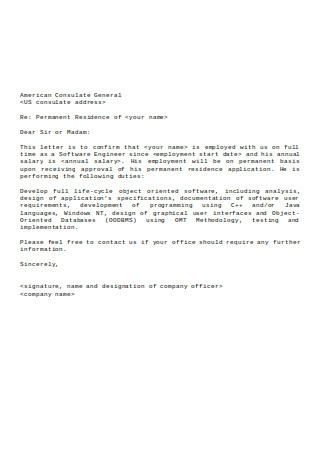 Sample Employment Letter for Consular
