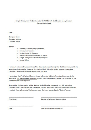 Sample Employment Verification Letter Example