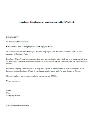 Sample Employment Verification Letter Format