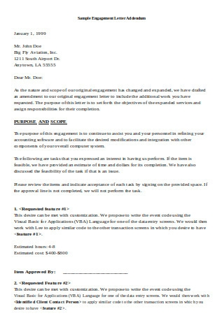 Sample Engagement Letter Addendum