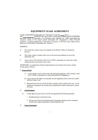 Sample Equipment Lease Agreement Example