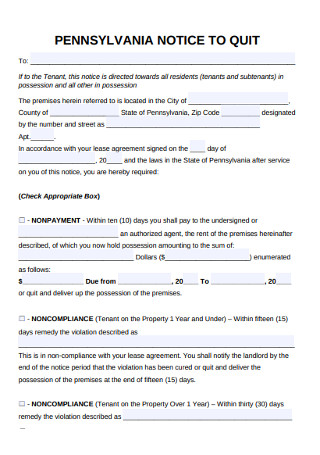 Sample Eviction Notice Quit Form
