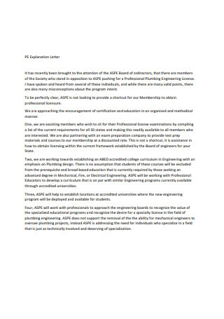 Sample Explanation Letter