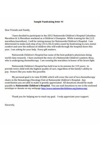 Sample Family Fundraising letter