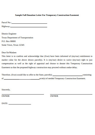 Sample Full Donation Letter For Temporary Construction Easement