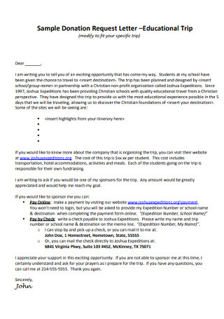 Sample Fundraising Donation Request Letter