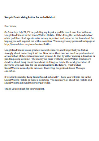 Sample Fundraising Letter for an Individual