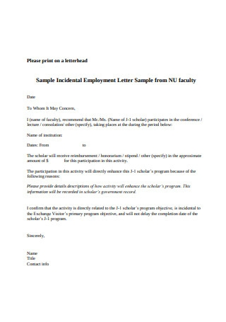 Sample Incidental Employment Letter