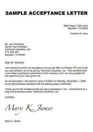 Sample Job Conformation Acceptance Letter