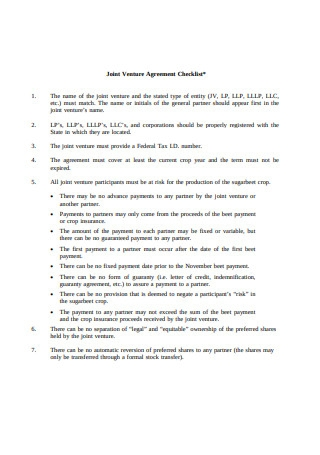 Sample Joint Venture Agreement Checklist