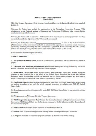Sample Joint Venture Agreement