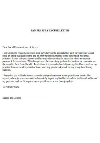 Sample Jury Excuse Letter