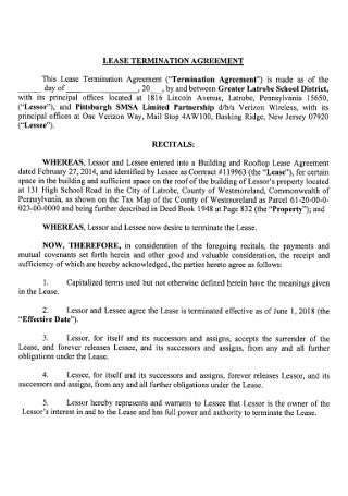Sample Lease Termination Agreement