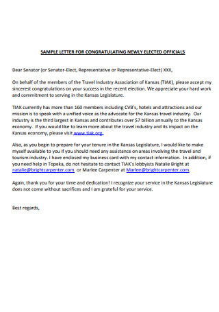 Sample Letter for Congratulating Newly Elected officials
