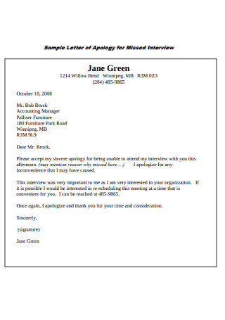 Sample Letter of Apology for Missed Interview